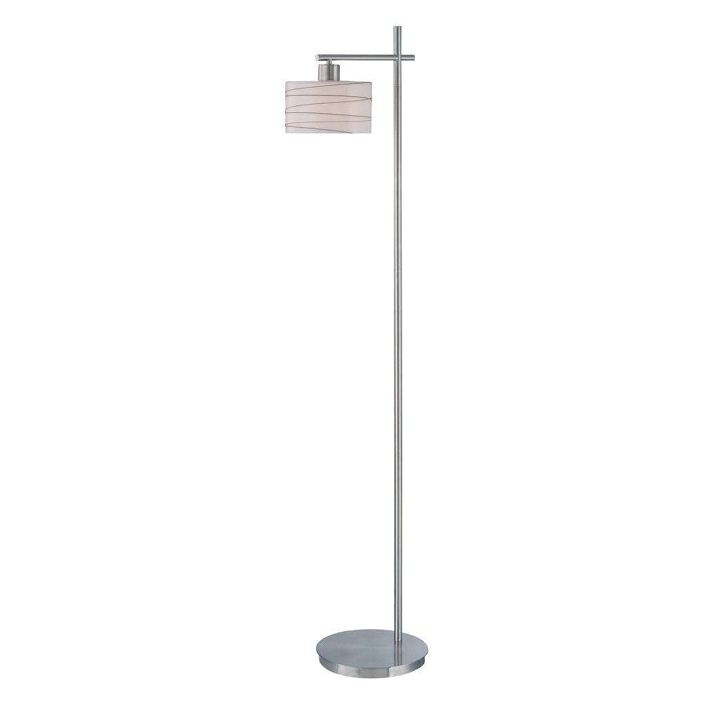 60.25 in. Polished Steel Floor Lamp with Frost Glass with Black