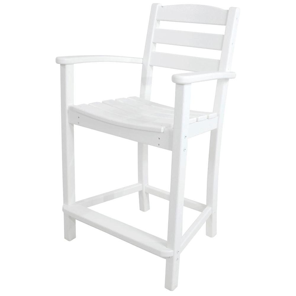 POLYWOOD La Casa Cafe White Plastic Outdoor Patio Counter Arm Chair