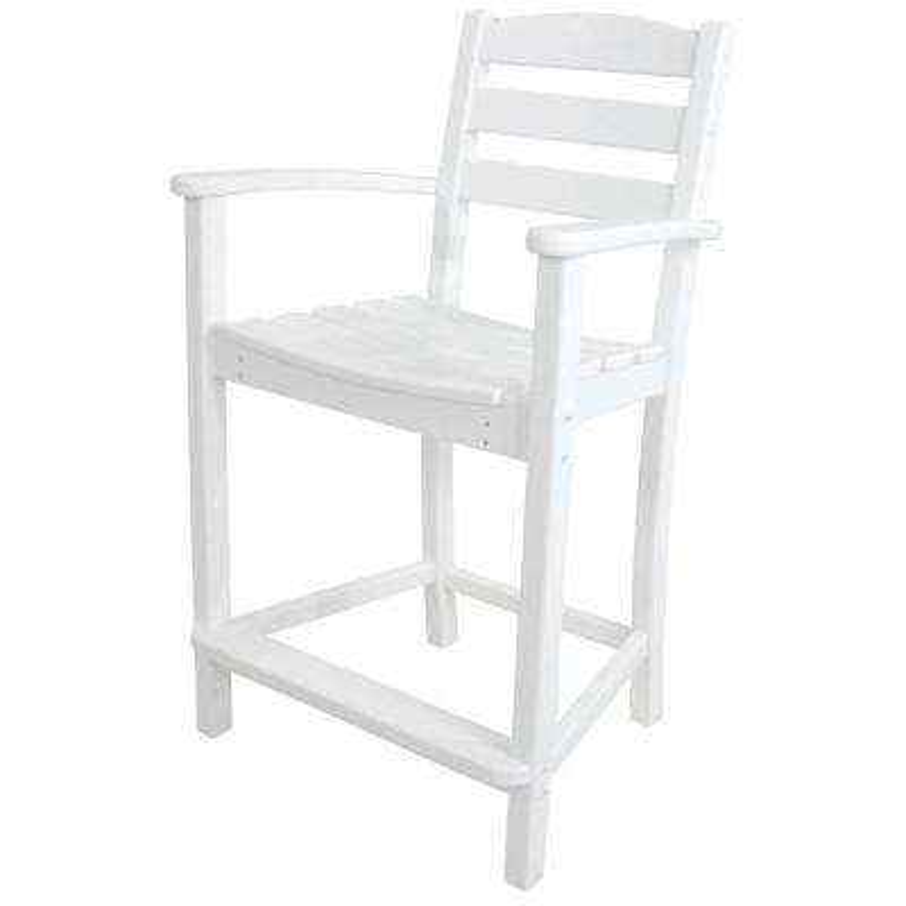 La Casa Cafe White Plastic Outdoor Patio Counter Arm Chair