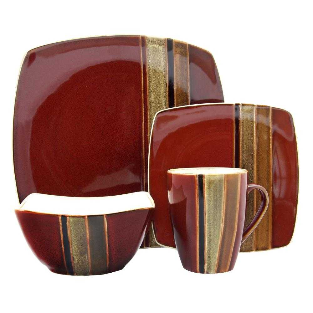 GIBSON elite Regent Classic 16-Piece Red Dinnerware Set  sc 1 st  Home Depot : asian living dinnerware - pezcame.com