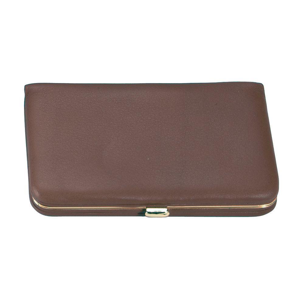 Genuine Leather Framed Business Card Case Wallet, Brown