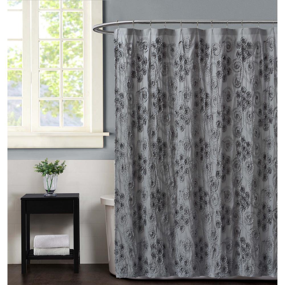 Christian Siriano Pretty Petals 72 in. Grey Shower Curtain SC2738GY-6200