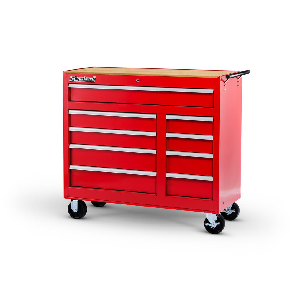 Workshop Series 42 in. 9-Drawer Cabinet with Wood Top, Red