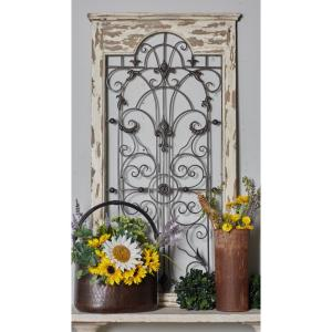 51 In X 27 In Arched Window Panel With Iron Scrollwork Grill Framed Wooden Wall Art