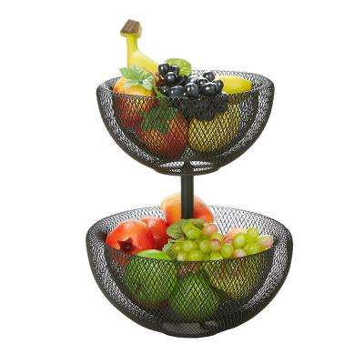 Black 2-Tier Mesh Decorative Fruit Bowl