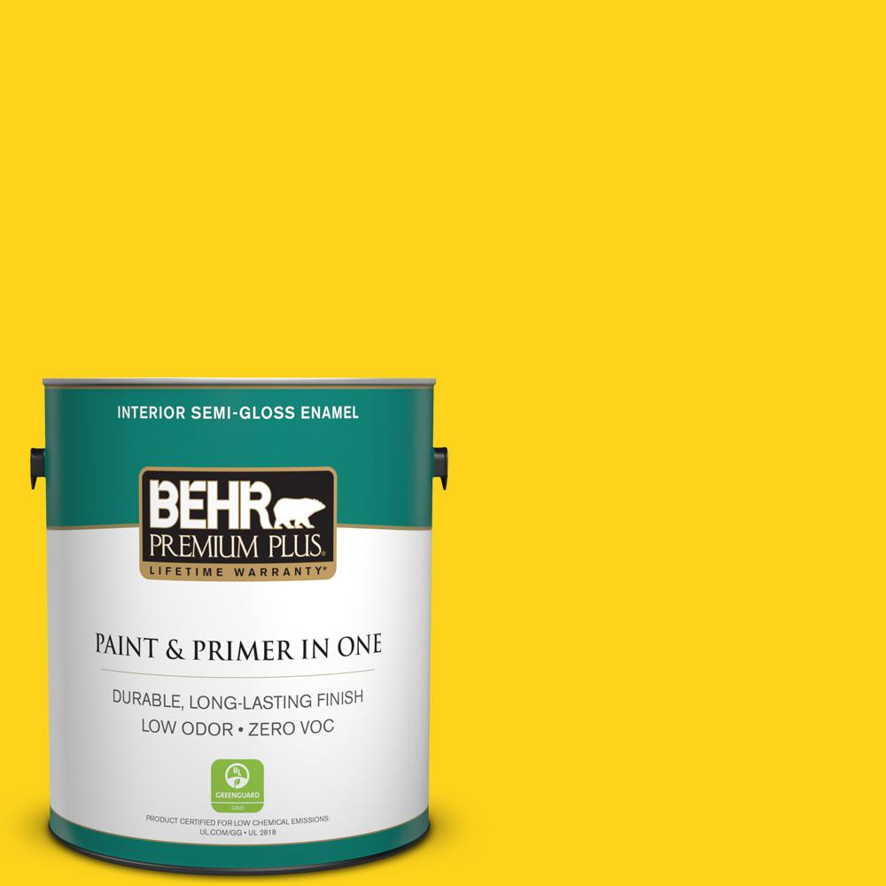 1-gal. #S-G-390 Lemon Zest Zero VOC Semi-Gloss Enamel Interior Paint