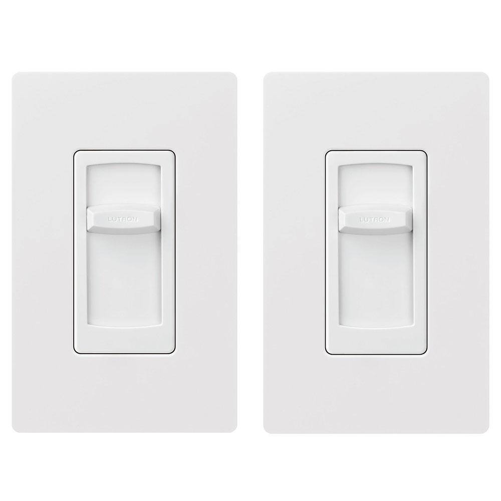Skylark Contour Slide LED+ Dimmer for Dimmable LED, Incandescent, Halogen Bulbs, SinglePole, w/Wallplate, White (2-Pack)
