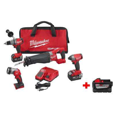 M18 FUEL 18-Volt Lithium-Ion Hammer Drill/Impact Driver/SAWZALL/LED Light Combo Kit (4-Tool) Free M18 9.0Ah Battery