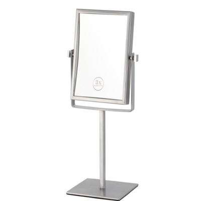 Glimmer 6.3 in. x 8.5 in. Free Standing LED 3x Rectangle Makeup Mirror in Chrome