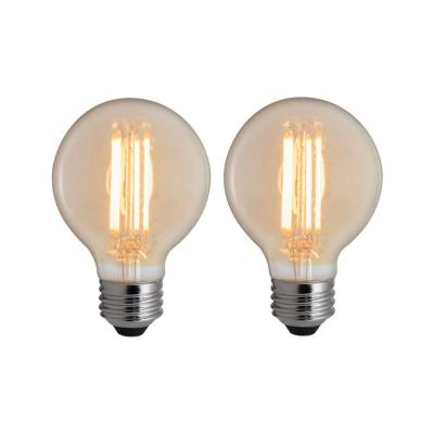 40W Equivalent Amber Light G25 Dimmable LED Filament Light Bulb (2-Pack)