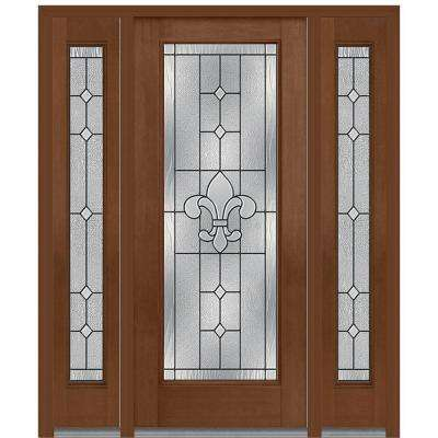 64 in. x 80 in. Carrollton Right-Hand Full Lite Decorative Stained Fiberglass Mahogany Prehung Front Door with Sidelites
