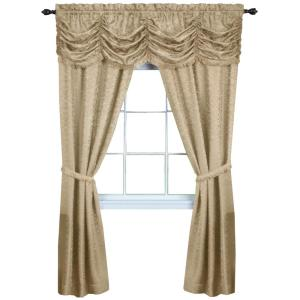 Panache 55 in. W x 63 in. L Polyester Light Filtering 5 Piece Window Curtain Set in Tan