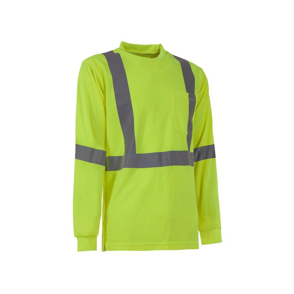 b236a76e859b Men's 6 XL Tall Yellow 100% Polyester Hi-Vis Type R Class 3 Performance  Long Sleeve T-Shirt