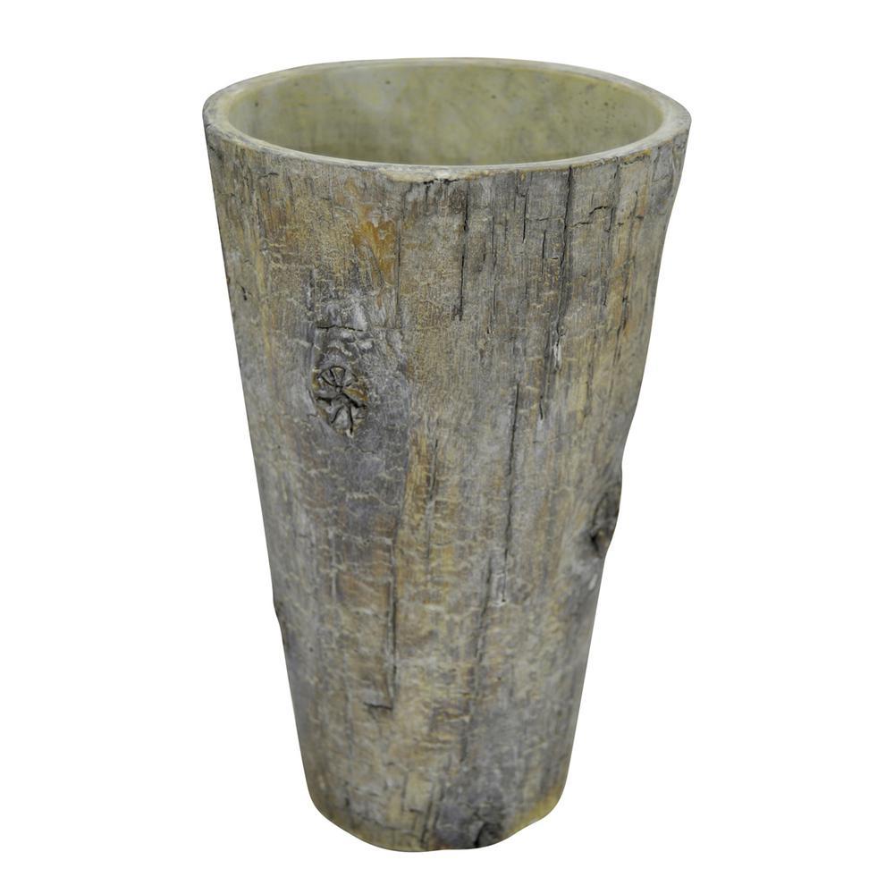9 in. Gray Wood Look Pot