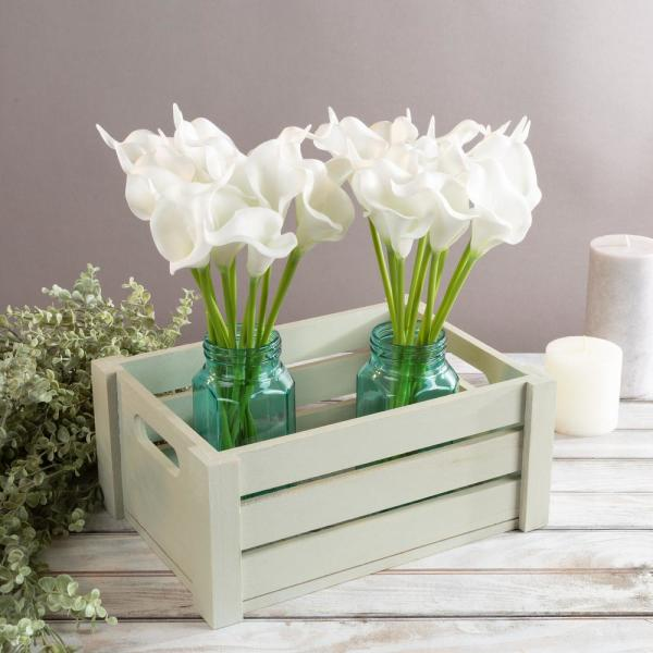 Pure White Artificial Calla-Lily Flowers with Stems (24-Pack)