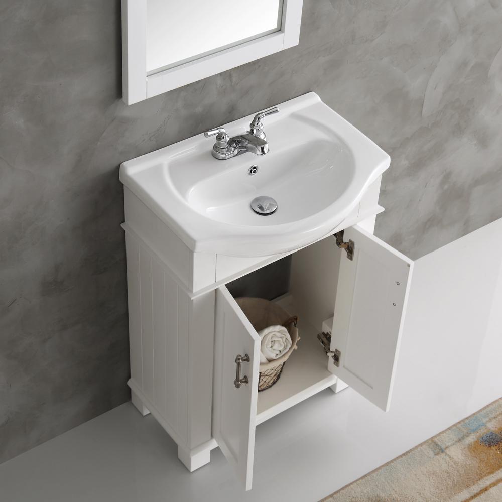Hudson 24 in. W Traditional Bathroom Vanity in White with Ceramic Vanity Top in White with White Basin