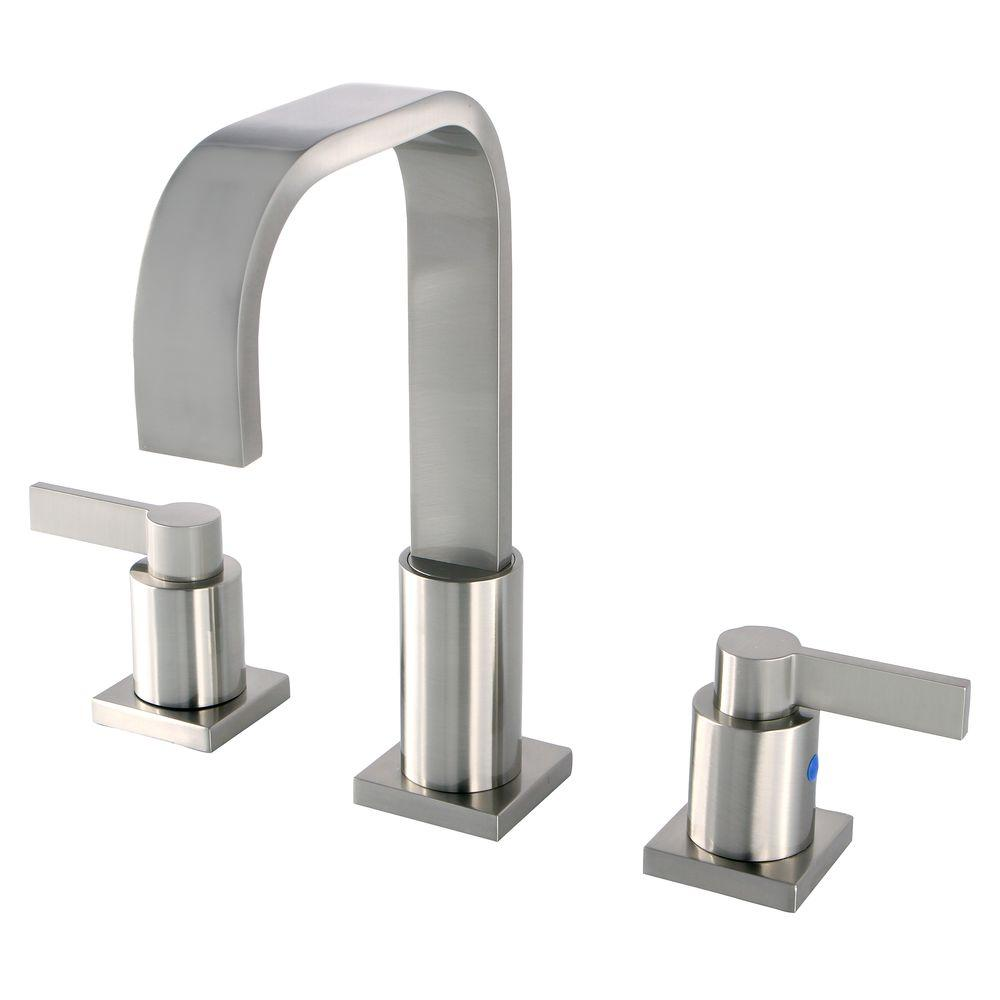 Kingston brass modern 8 in widespread 2 handle high arc bathroom faucet in