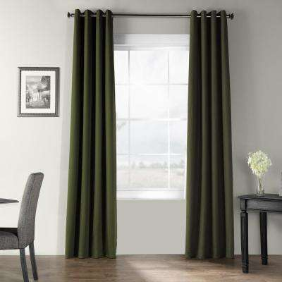 French Green Bark Weave Solid Cotton Grommet Curtain - 50 in. W x 84 in. L