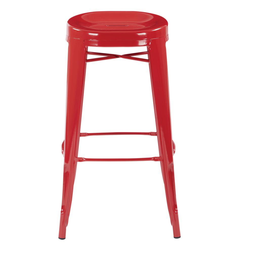 OSP Home Furnishings Stockton 30 in. Barstool in Red (2 per Carton), Red Metal Finish The Stockton 30 in. Barstool is the definition of casual sitting. This backless style stool comes fully assembled and is stackable for convenience. Perfect for house guests when throwing dinner parties or simply relaxing at home. Color: Red Metal Finish.