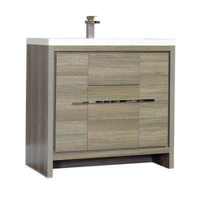 Ripley 35.65 in. W x 18.75 in. D x 34.12 in. H Vanity in Gray with Acrylic Vanity Top in White with White Basin