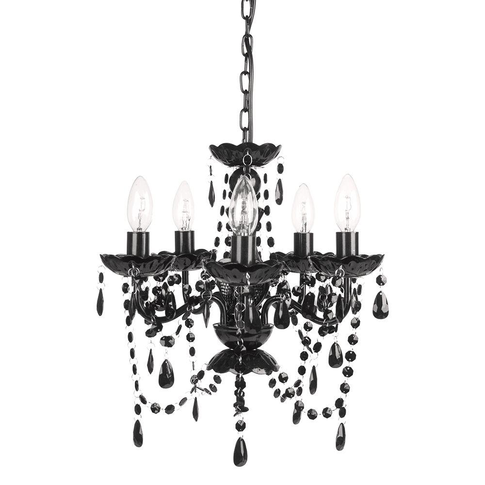 Tadpoles 5 light black onyx chandelier cch5pl020 the home depot tadpoles 5 light black onyx chandelier aloadofball
