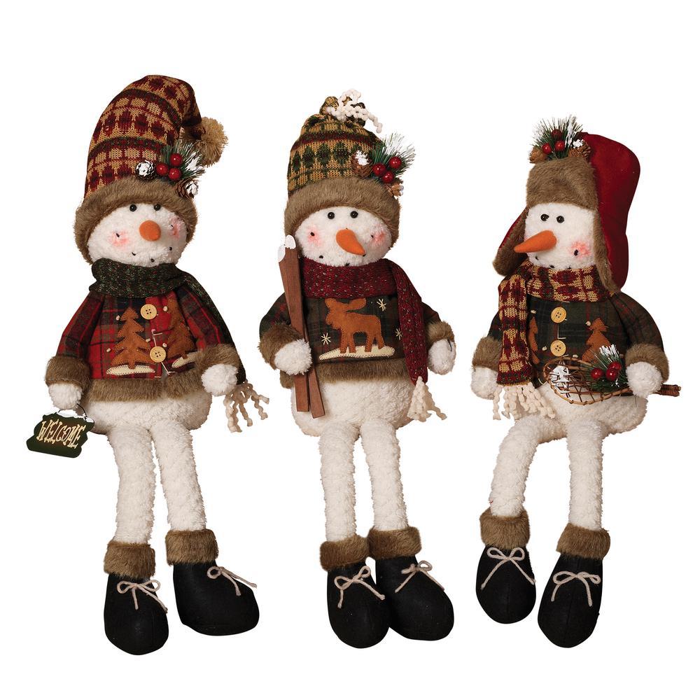 S/3 Asst 30 in. H Plush Snowmen