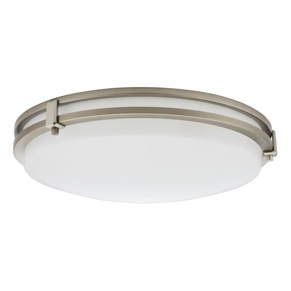 LITHONIALIGHTING Lithonia Lighting Saturn 24-Watt Brushed Nickel Integrated LED Flush Mount
