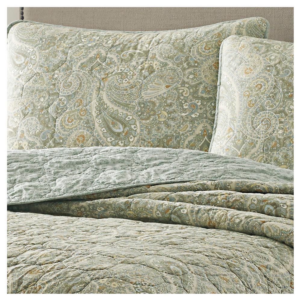 Emilia Green Floral Cotton Quilt Set