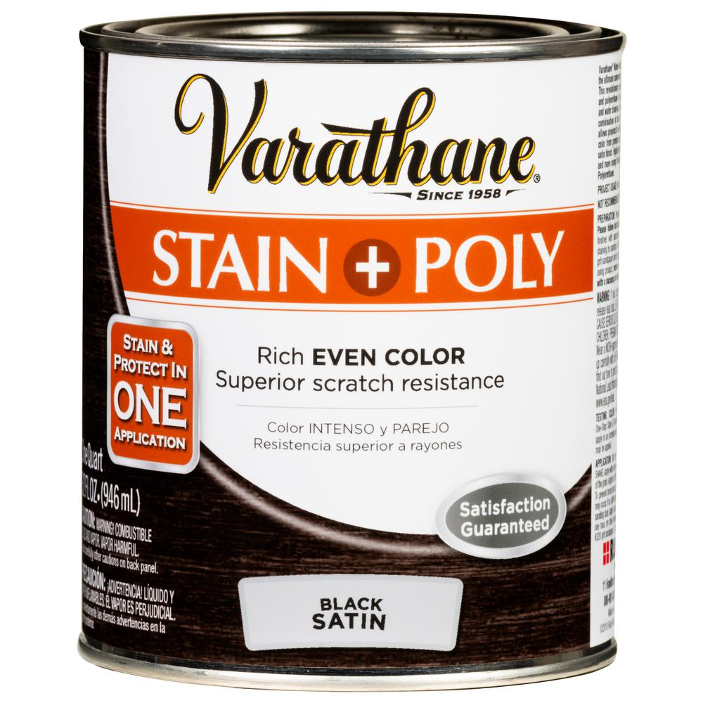 Varathane 1 qt. Black Satin Water-Based Interior Stain and Polyurethane