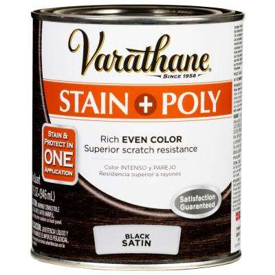 1 qt. Black Satin Water-Based Interior Stain and Polyurethane