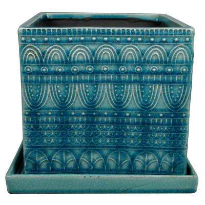 8 in. Dia Blue Ceramic Seven Seas Square Pot