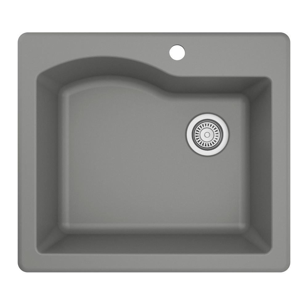 Drop-In Quartz Composite 25 in. 1-Hole Single Bowl Kitchen Sink in Grey