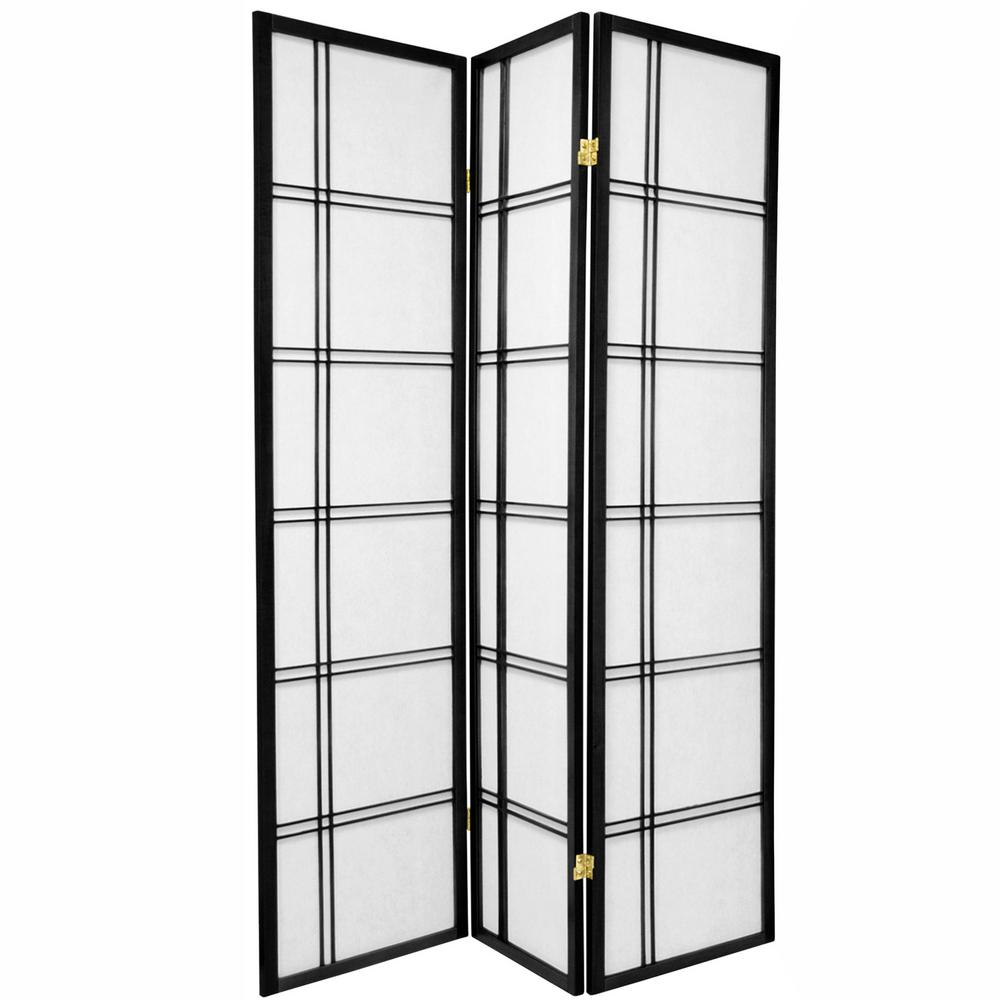 6 ft. Black 3-Panel Room Divider