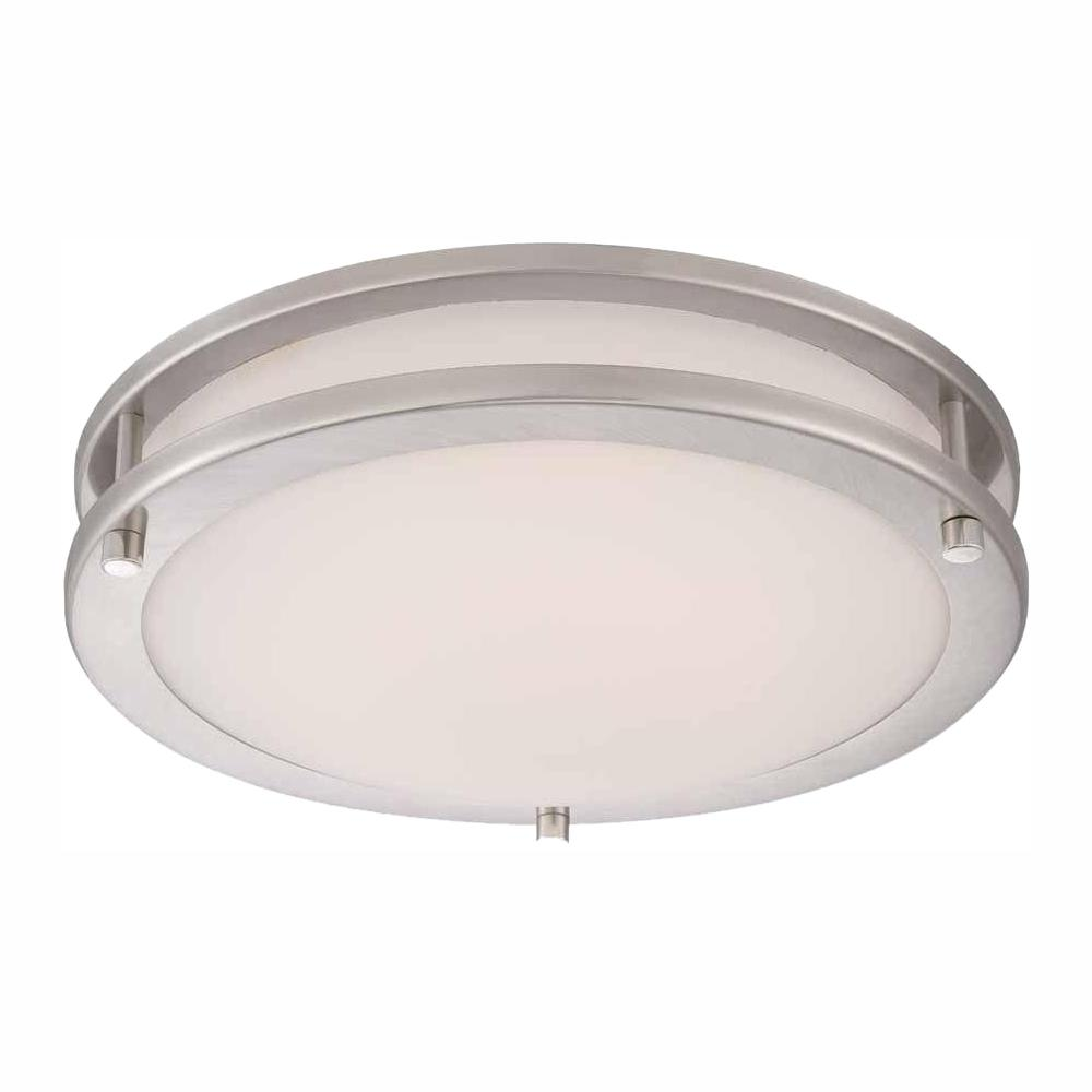 Hampton Bay 11 8 In 120 Watt Equivalent Brushed Nickel Integrated Led Low Profile Flush Mount With Frosted White Gl Shade