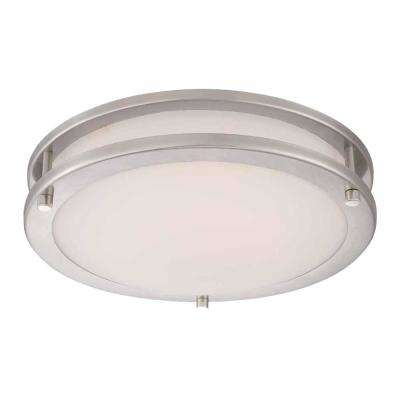 11.8 in. 120-Watt Equivalent Brushed Nickel Integrated LED Low-Profile Flush Mount with Frosted White Glass Shade