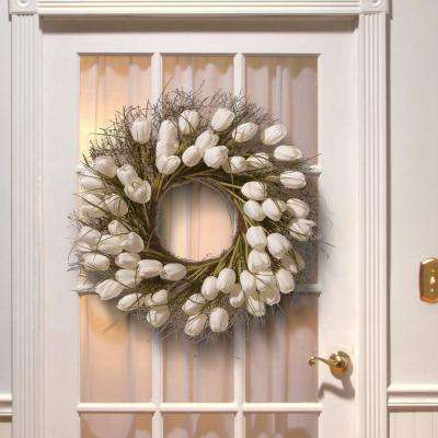 24 in. White Tulip Wreath