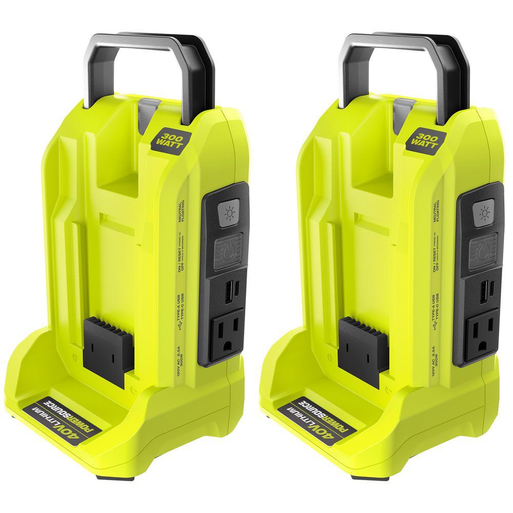 Two 300-Watt Powered Inverter Generators for 40-Volt Battery