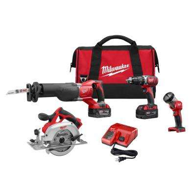M18 18-Volt Lithium-Ion Cordless Combo Tool Kit (4-Tool) w/(2) 3.0Ah Batteries, (1) Charger, (1) Tool Bag