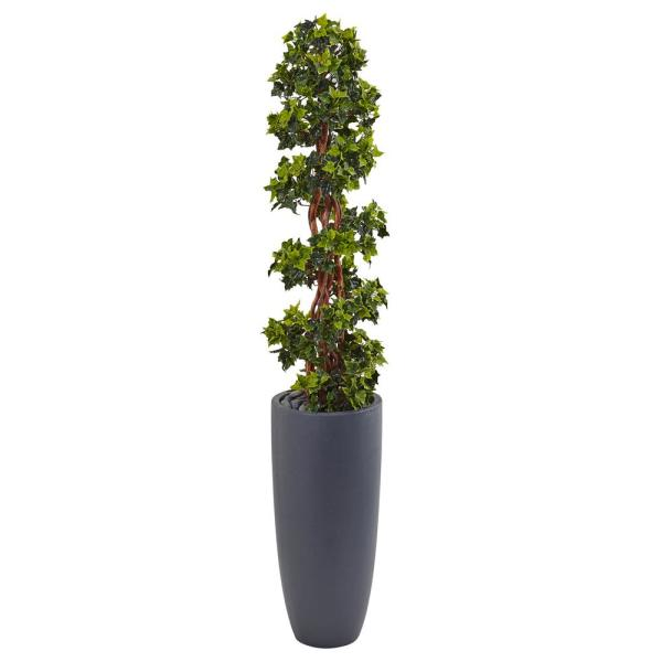 Indoor/Outdoor English Ivy Spiral Topiary Artificial Tree in Gray Cylinder Planter UV Resistant