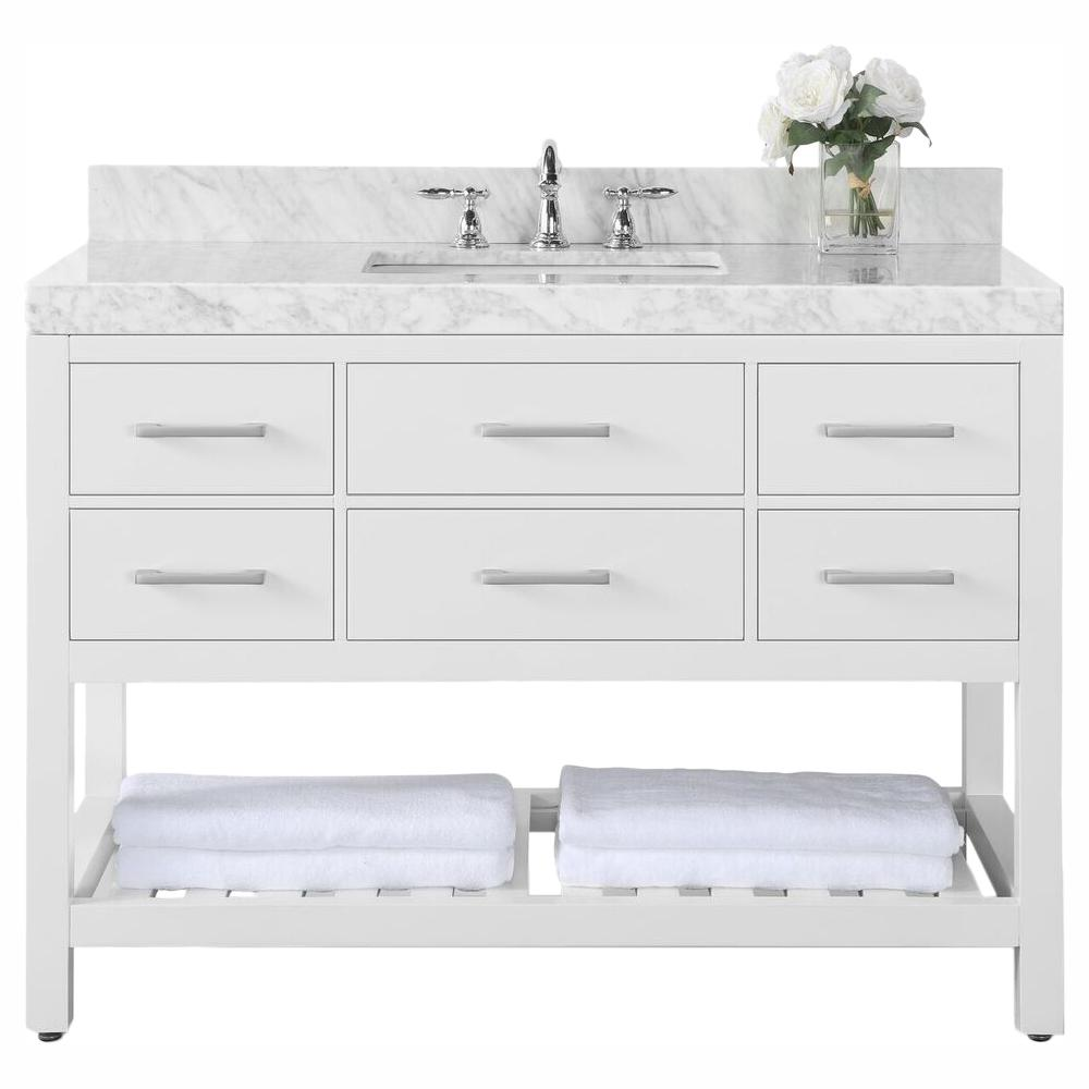 Ancerre Designs Elizabeth 48 in. W x 22 in. D Vanity in White with Marble Vanity Top in Carrara White with White Basin