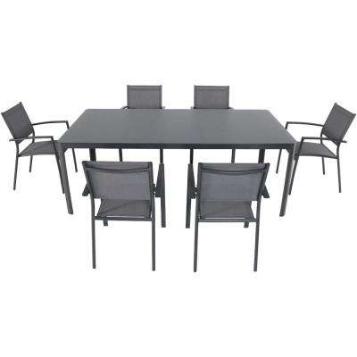 Mesa 7-Piece Aluminum Outdoor Dining Set with 6-Sling Arm Chairs and a 43 in. x 82 in. Glass-Top Table