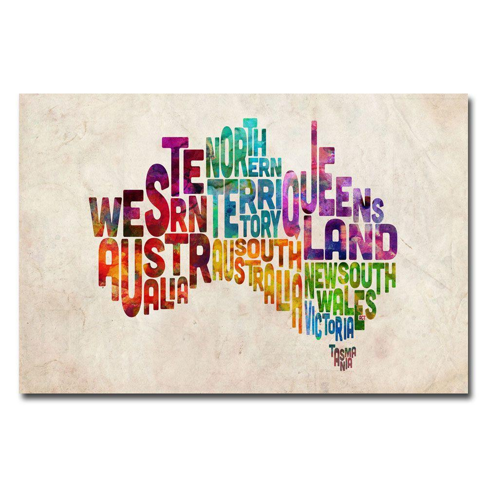 22 in. x 32 in. Australia States Text Map Canvas Art