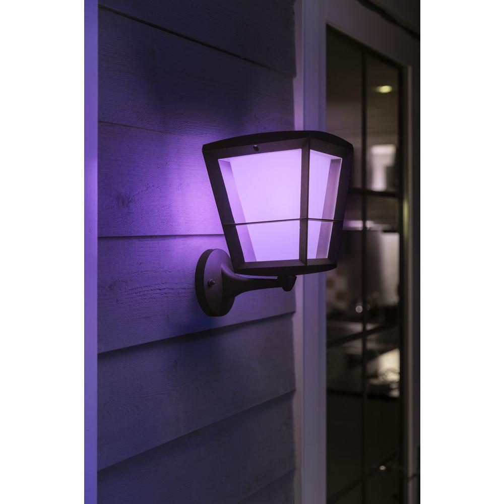 White and Color Ambiance Econic Medium Black Outdoor Wall Up Lantern with  Integrated LED