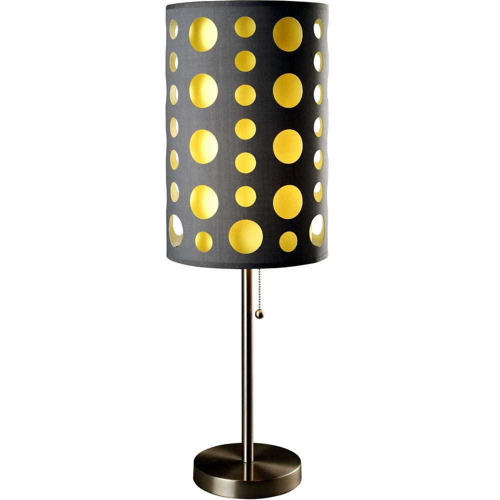 ORE International 33 in. Grey and Yellow Stainless Steel High Modern Retro Table Lamp