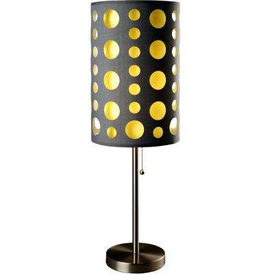 33 in. Grey and Yellow Stainless Steel High Modern Retro Table Lamp
