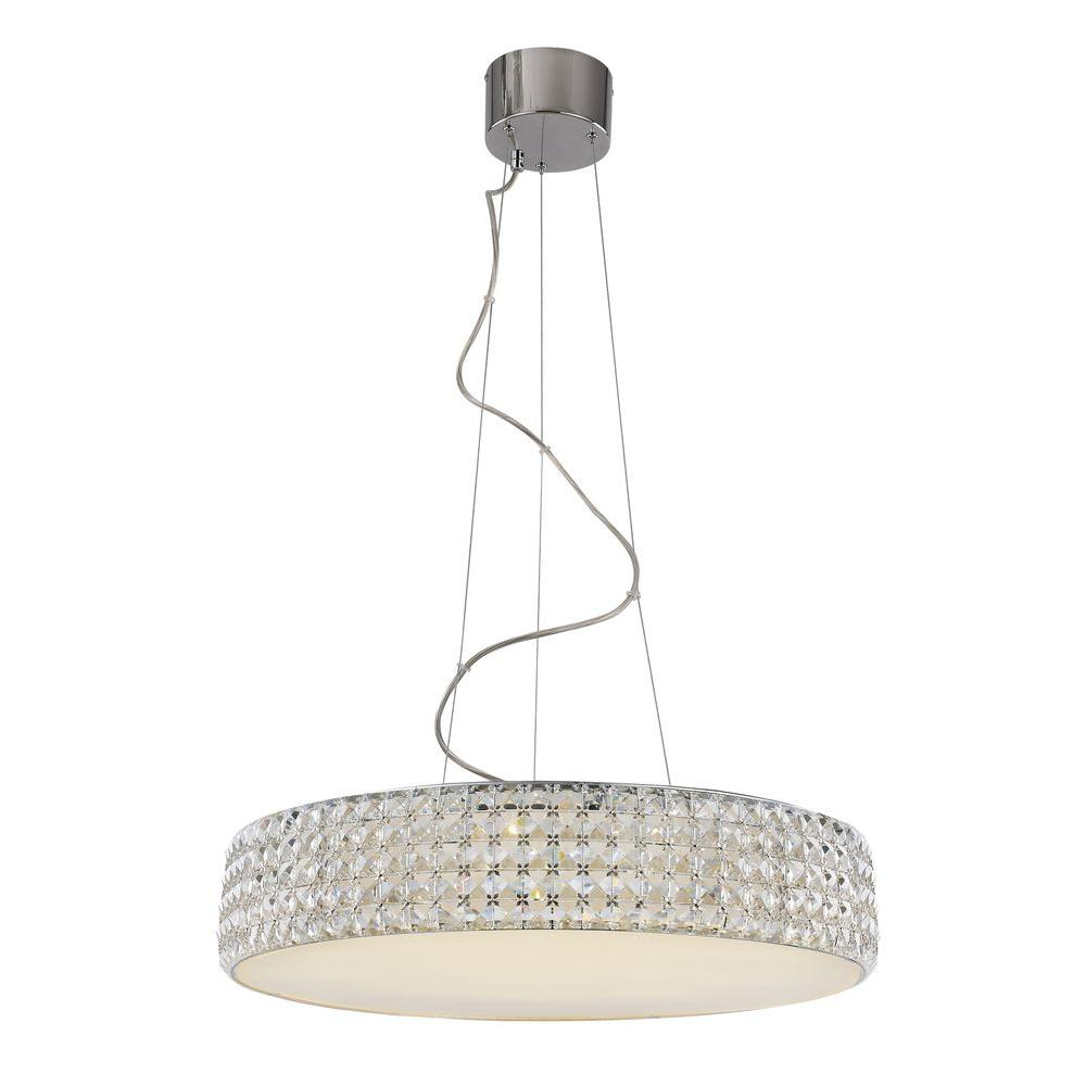 Bel Air Lighting 18-Light Polished Chrome LED Pendant with Crystals