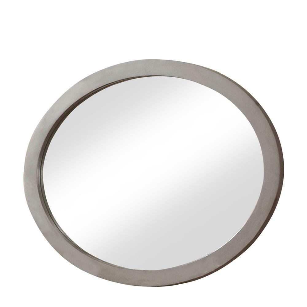 Mackie Wood Oval Gray Decorative Wall Mirror