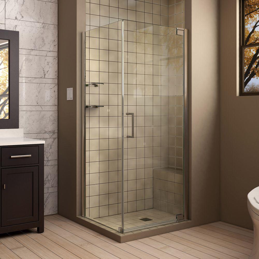 DreamLine Elegance 34 in. x 34 in. x 72 in. Semi-Frameless Pivot Corner Shower Enclosure in Brushed Nickel