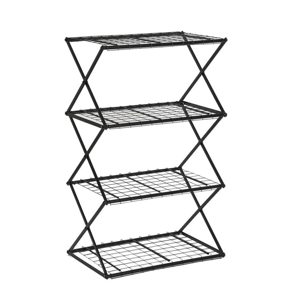 Exy 4-Tier Powder-Coated Steel Tube Shelving in Black