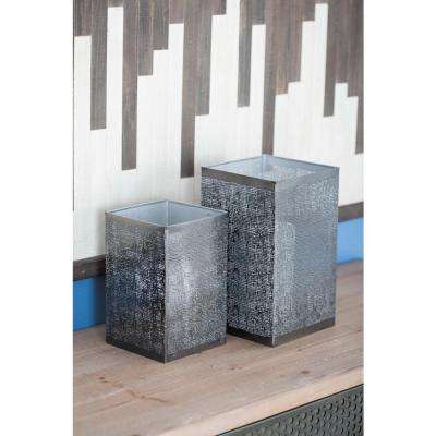 Large: 10 in; Medium: 8 in; Small: 6 in. Dark Gray Metal Web Candle Holders (Set of 3)